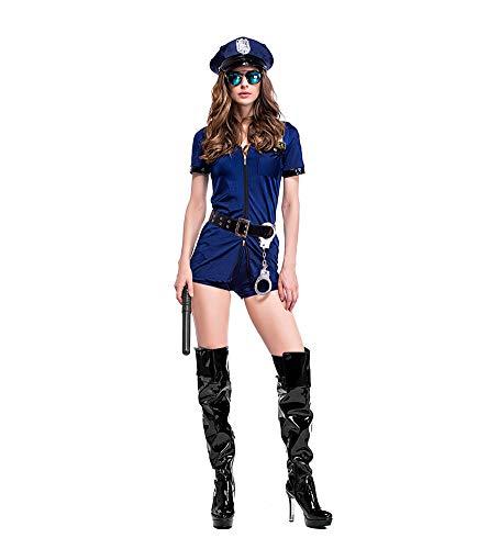 DevileLover Disfraz de Halloween, Culottes Azul Oscuro, Uniforme de Mujer Policía con Cremallera, Traje Sexy Cosplay Ropa de Vacaciones Regalo de Cumpleaños,Adecuado para Festivales como Halloween.