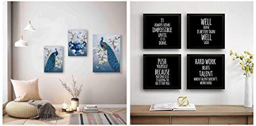 SAF Peacock Designer Set of 3 Up Textured Painting (1 Pc.:-12 X 18 Inches and 2 Pc:- 9 X 12 Inches, SAF_9X18_14) & Motivational Set of 4 Up Textured Painting (19 X 19 Inches, SAF_Set4_27) Combo