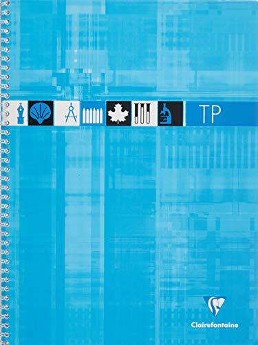 Clairefontaine 8007C - Un cahier à spirale de travaux pratiques 80 pages 24x32 cm grands carreaux 90 g et unies blanches 125 g, couverture carte pelliculée couleur aléatoire