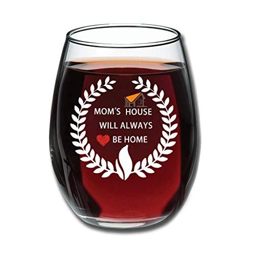 DAMKELLY Store Copa de vino tinto, con texto en alemán 'Moms Haus wird Immer zu Zuhause Sein Premium Schnitzen vaso de zumo Good Handheld especial decoración blanco 350 ml
