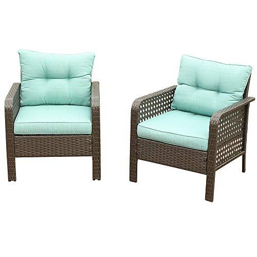U-Eway Outdoor Rattan Single Chair 2pcs,Patio PE Wicker Furniture Cushion Seat,2Pcs Armchairs PE Rattan Sofa Backyard Yard,Premium Spun Ploy Fabric,Removable Cushion Cover Zipper, Washable (Green)