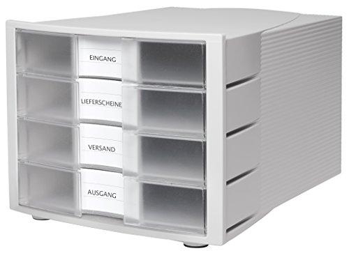 HAN Schubladenbox IMPULS 1010-X-63 in Lichtgrau/Transluzent-Klar / Stapelbare Sortierablage mit 4 großen, geschlossenen Schubladen für DIN A4/C4 / inkl. Beschriftungsschilder