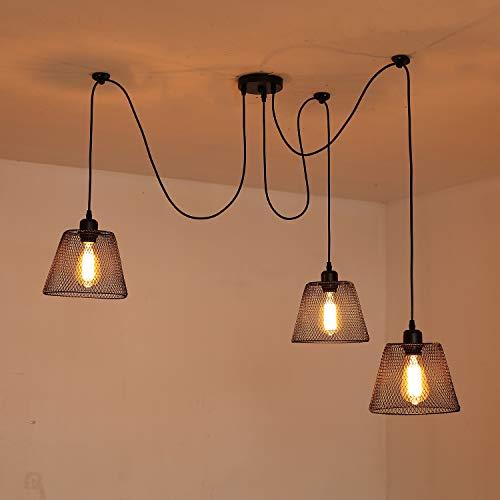 DIY 200 cm Luz colgante Lámpara de techo Negro Lámpara 3 * E27 Edison Bulb Luz colgante para Dormitorio Salón Cocina Sala de Comedor Dventana Loft Balcón