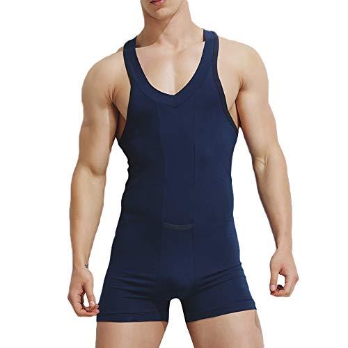 Pottoa Herren Herren Unterhemd Unterwäsche, Baumwolle Einteilige Weste Jumpsuit Sexy Unterwäsche Hause Pyjamas Sexy Tank Tops Shorts Body Nachtwäsche, Blau, XL