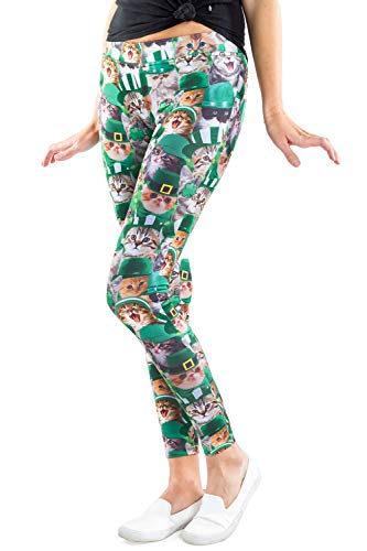 Women's Green St. Patrick's Day Leggings - St. Paddy's Day Tights Pants for Ladies (Cat, Large)