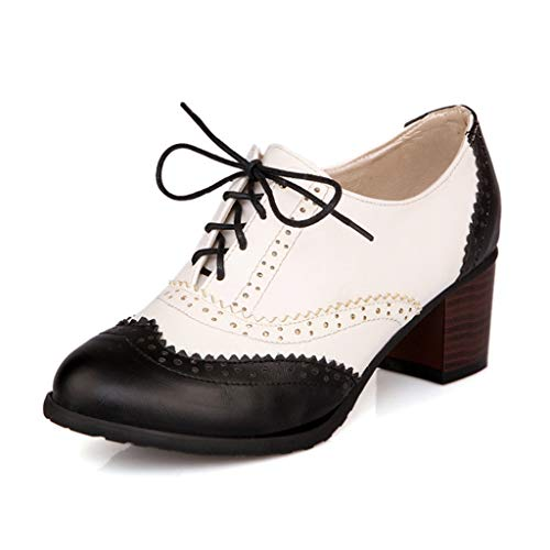 MIOKE Women's Block Mid Heel Wingtip Oxfords Pumps Two Tone Perforated Lace Up Vintage Brogues Dress Shoes Black