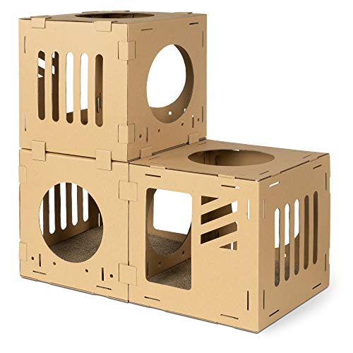 Navaris Modular Cardboard Cat House - DIY Corrugated Cardboard Configurable Play Tower Condo for...