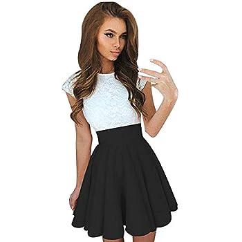 Womens Teen Girls Lace Patchwork Sleeveless Sundress Summer Prom Party Cocktail Mini Skater Dress(Black,M