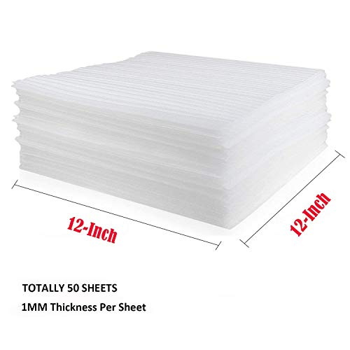 Foam Sheets 12? x 12?, Acrux7 Dish Packaging Foam Protectors 50 Pack, Soft Cushion Foam Sheet for Glass & China Dishes, Cups, Bowls, Plates, Spoon, Dinnerware, Drinkware & Other Table Top Accessories