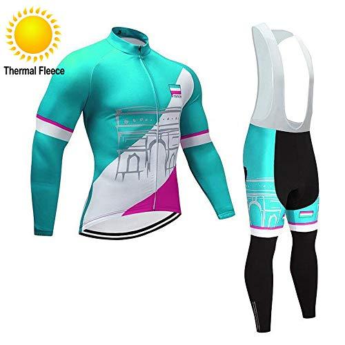 TOPBIKEB Ropa Ciclismo Invierno para Hombre Maillot Ciclismo Mangas Larga