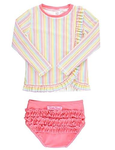 ラッフルバッツ 水着 長袖ラッシュガード Long Sleeve Rash Guard Bikini Rainbow Stripe 3T(95)