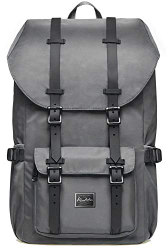KAUKKO Rucksack Damen Herren Schön und Durchdacht Daypack mit Laptopfach für 15 Zoll Notebook für Schule,Uni, 22L, Grau