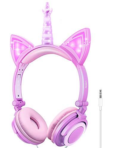 Auriculares para niños, Auriculares Unicornio con Cable para niños, Oreja de Gato LED con Diadema Ajustable, Auriculares con Sonido estéreo Auriculares para niños en la Oreja (Morado-1)