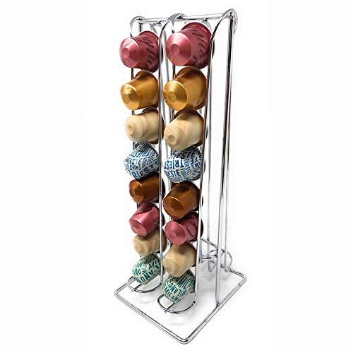 Ducomi Soporte para cápsulas Nespresso – Portacápsulas compatible con cápsulas de café Nespresso – Accesorios de cocina mesa para cafetera expreso – Dispensador de cápsulas Idea regalo (32 cápsulas)