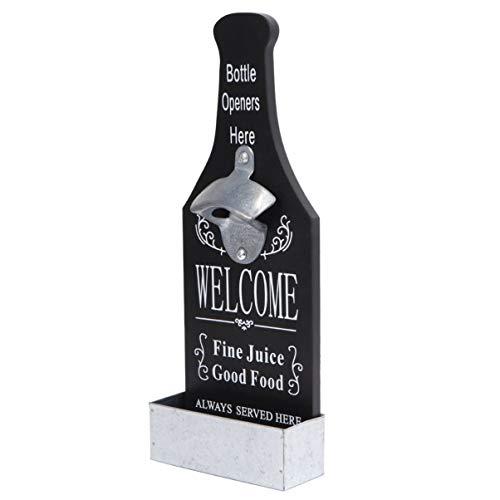 OUNONA Apribottiglie a Bottone di Birra a Parete in Legno Apertura a Bottiglia da Birra a Barra a Parete (Nero)
