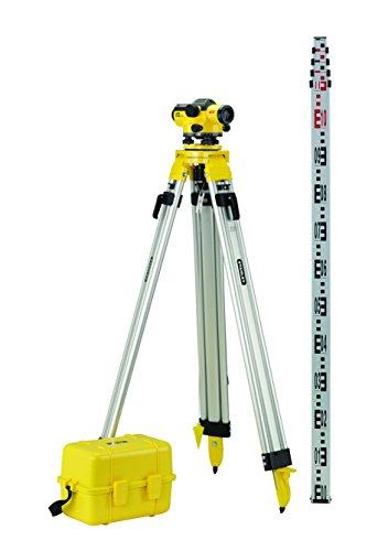 Stanley FatMax Pro AL32 Optisches Nivelliergerät Set 1-77-244 mit Stativ, Teleskop-Nivellierlatte, Transportkoffer – 32-fache Vergrößerung, 107m Arbeitsbereich