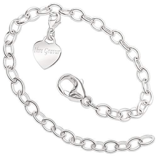 Clever sieraden met gravure: zilveren bedelhanger klein hart 13 mm glanzend met beugellus aan karabijnhaak met armband 18,5 cm lang ovale oogjes sterling zilver 925 inclusief gravure