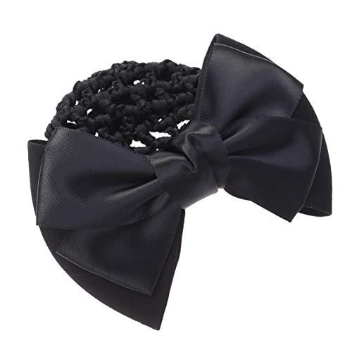Frcolor Haarclip Haarspange Haarnetz für Brötchen Frauen Haar Knotenring Haarnetz mit Schleife (schwarz)