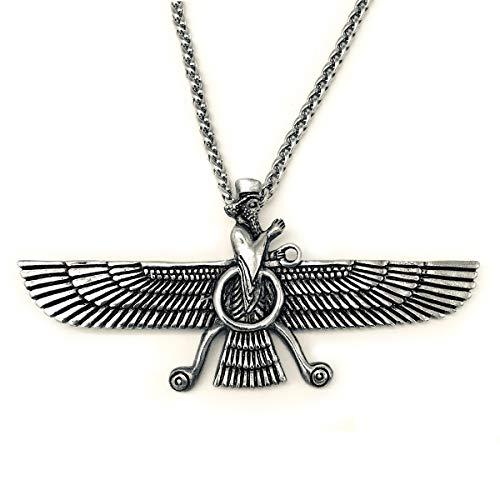 Asoodehdelan Large Sterling Silver Persian Farvahar Faravahar Necklace