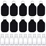 SUBANG 20 Pieces Empty Travel Size Bottle and Keychain Holders Set Include 10 Pieces 30 ML Flip Cap Containers Reusable Travel Bottles, 10 Pieces Keychain Bottle Holders, Black Style