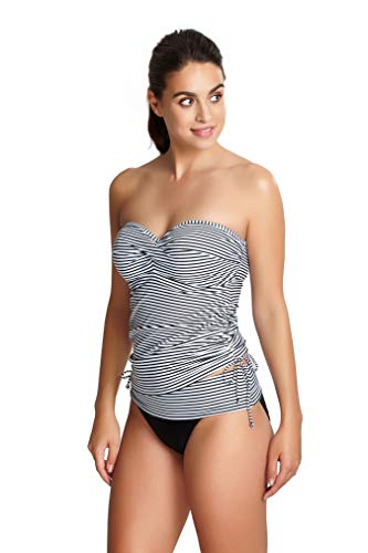 Panache Women's Anya Stripe Bra-Sized Bandeau Tankini with Detachable Straps, Black/White, 34 FF