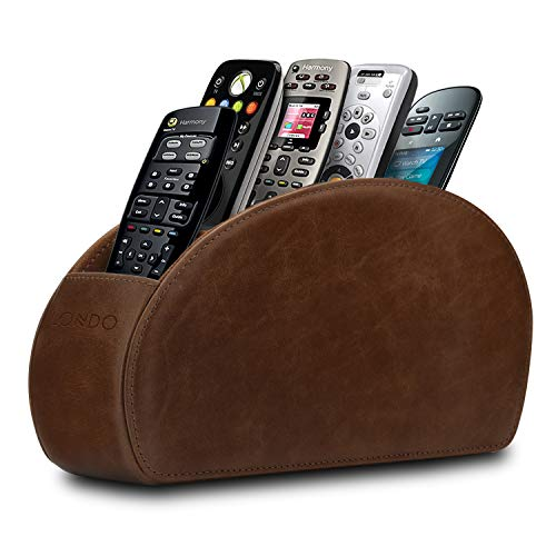 Londo Fernbedienungshalter mit 5 Taschen - Platz für DVD, Blu-Ray, TV, oder Apple TV Fernbedienungen - Italienisches Echtleder mit Wildlederfutter, OTTOREMOTE, Rustikales Braun