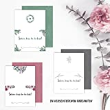50 Tischkarten oder Platzkarten Hochzeit, Geburtstag, Taufe, Kommunion, Konfirmation mit Blumen und Schön DASS du da bist Bedruckt (Eukalyptus) - 2
