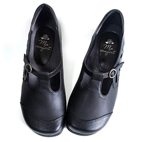 [Mio comfort] 婦人靴.net 5E デイジー 幅広 甲高 外反母趾 おしゃれ 黒 本革 かわいい パンプス ミセス レディース コンフォート 痛くならない 日本製 フォーマル 冠婚葬祭 60代 50代 40代 ブラック 22.0cm