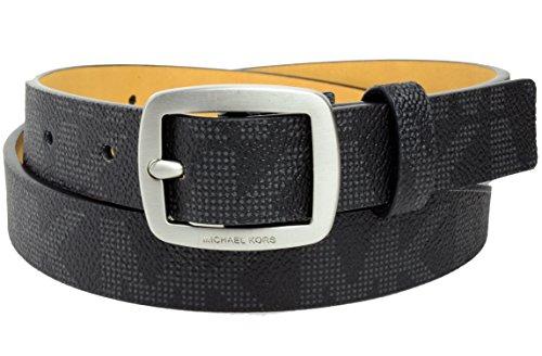 Michael Kors Womens Thin Black MK Logo Belt Nickel Buckle Sz Small