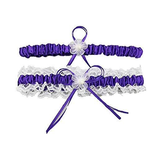 Charm4you Liga para Novia Azul,Pierna de Encaje Sexy Lazo Liguero-Violeta,Accesorios de Vestidos de Novia Liga