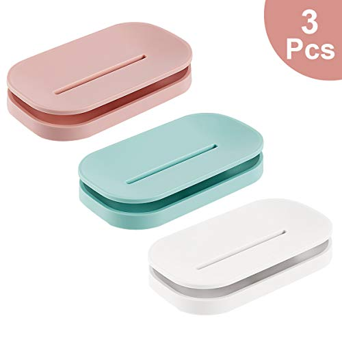 Tompig 3 Stück Seifenschale mit Ablauf, abnehmbar für einfache Reinigung, Seifenschalen Halten Sie die Seife trocken, für Küche, Bad, Duschraum.3 Farben (Weiß, Blau, Pink)