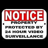 CDYSKJCO Señal de advertencia de metal con señal de advertencia de propiedad protegida por 24 horas de videovigilancia para garaje, motel parque, carretera, área pública