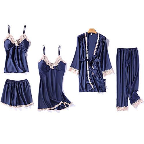 Whittie 5-teiliges Damen-Seidenpyjama-Set Lange Loungewear Damen Pure V-Ausschnitt Summer Nightwear Kurze Nachtwäsche aus Mulberry-Seide,Blue,L