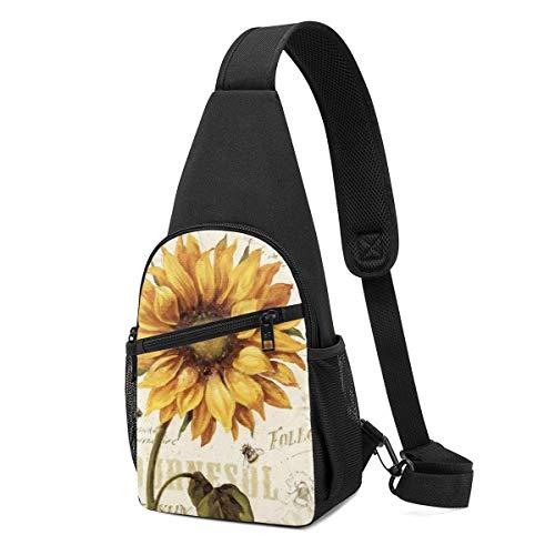 WILHJGH Sling Pack Bag Vintage Sunflower Stamp Chest Bag Crossbody Backpack Shoulder Pack Gym Daypack for Men