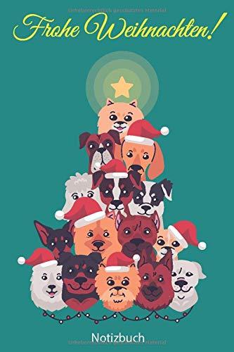Notizbuch: Hunde Weihnachtsbaum 110 Seiten Notizbuch liniertes Papier | ohne Rand | glänzendes Softcover | Rezeptebuch, Schreibheft, Geschenkidee