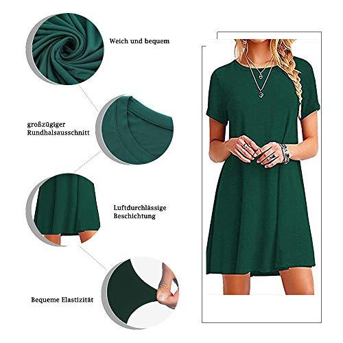 Falechay Vestidos Mujer Verano Casual de Camiseta Suelto Cuello Redondo Basico Color Sólida Multifuncional Vestido Verde Oscuro M