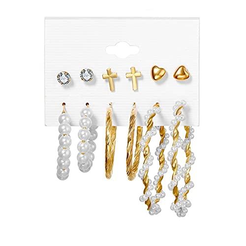 Pendientes para mujer Pendientes de perlas para mujeres Pendientes de perno de cristal (Metal Color : H11 ZL2425 1)