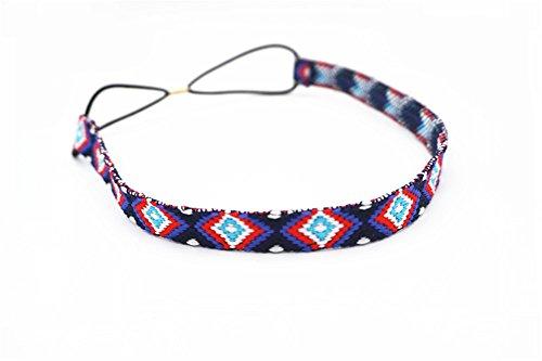 Fashionshao Vintage etnische stijl borduurwerk print fijngerande haarband bohemian diamantvormige pijl exotische haarband