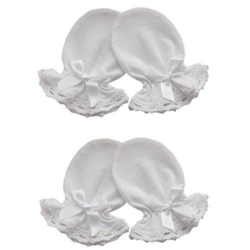 100% coton jersey nouveau-né bébé fait main anti-rayures Moufles en Coton Dentelle 2 paires couleur : blanc Blanc White Bow 0-3 mois
