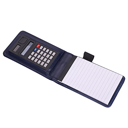 Notizblock A7 Leder mit Taschenrechner klein 30 Blätte Schreibblock Hardcover Notizbuch für Büro Schreiben Zeichnen Notiz Schreibblock Tragbar praktisch Skizzenblöcke Papier als Business Geschenk