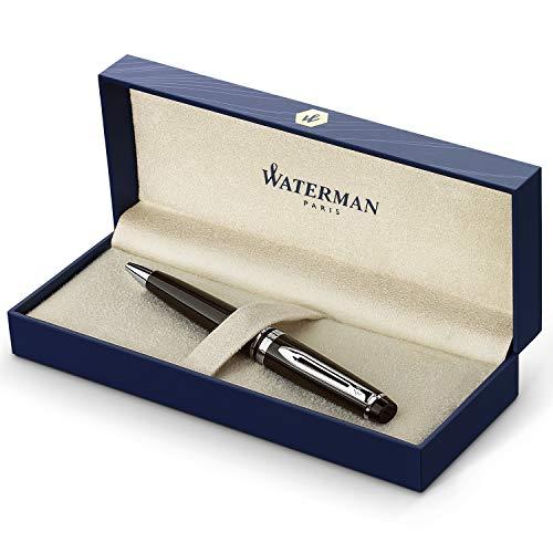 Waterman Carène Black Sea Kugelschreiber (hochglänzend Schwarz mit Palladiumzierteilen, mittlere Schreibspitze, blaue Tinte, Geschenkbox)