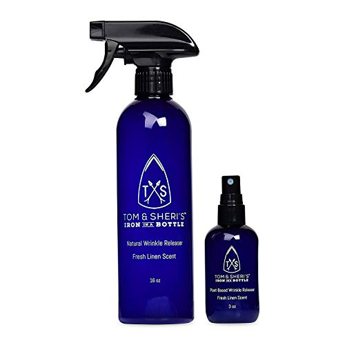 Product Image of the Tom and Sheri's Plant-Based Wrinkle Release Spray, Static Guard, No-Iron and No-Heat Clothes Steamer - Iron in a Bottle Trifecta 3 Product Value Bundle, 3 oz, 16 oz and 32 oz