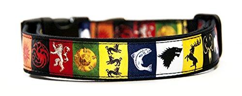 Juego De Tronos Casas Game of Thrones Houses Collar Perro Hecho a Mano Talla M sin Correa Dog Collar Handmade