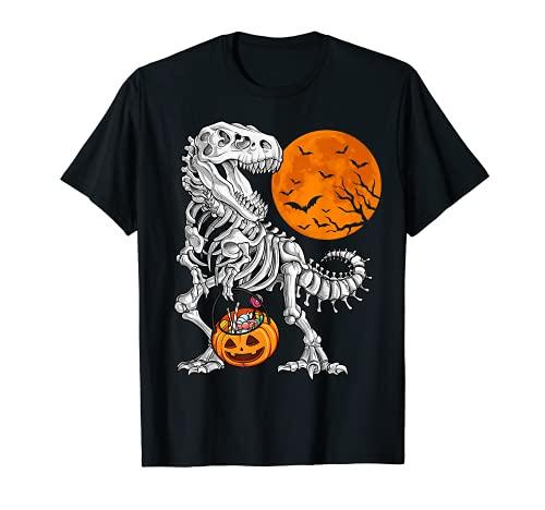 Camisas de Halloween para niños dinosaurio esqueleto T rex Scary T-Shirt