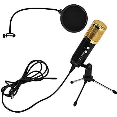 FOCCTS PC Microphone, USB Condenser Microphone, One Key Mute Professional Plug and Play with Stand & Pop Filter for Computer Laptop PS4, for Singing Recording Podcasting Streaming Gaming