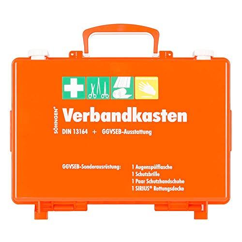 SÖHNGEN 0301012 GGVSEB/KFZ-Verbandkasten SN-CD, orange, mit DIN 13164 + GGVSEB Ausrüstung aus Kunststoff, mit PRÜFPLAKETTE