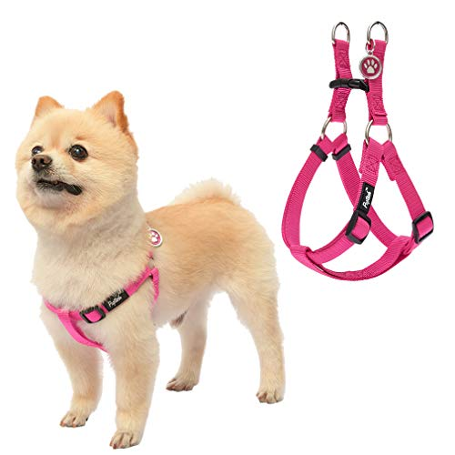 No Pull Dog Harness Reflective Adjustable Basic Nylon Step in Puppy Vest Outdoor Walking with ID Tag (XS: Width 1/2