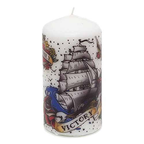 Carousel Home Gifts Vintage Tattoo Pillar Candle   Large Unscented Church Pillar Candle   Novelty Candles 14cm