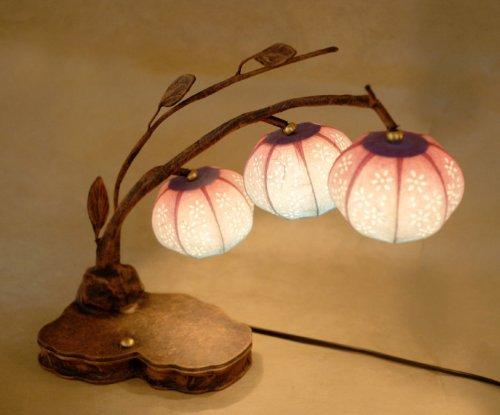 Lámpara de Papel de Arroz Diseño de Campanillas Asia Oriental Hecho a Mano Marrón Decorativo Mini Flor Mesilla de Noche Decoración Original