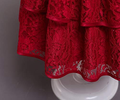 TTYAOVO Bebé Chicas Bordado Tul Flor Princesa Boda Fiesta Vestir Talla 90(12-24 Talla) 732 Rojo